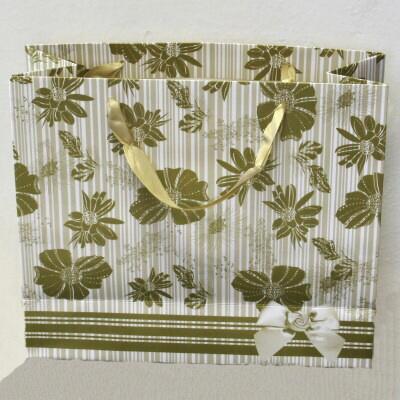 Papírová dárková taška, zlatá s potiskem, JR-16/Au