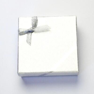 Papírová krabička na šperky, stříbrná na sadu, AGR-10/AG