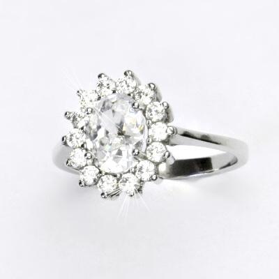 Stříbrný prsten, čiré zirkony, Kate, T 1507