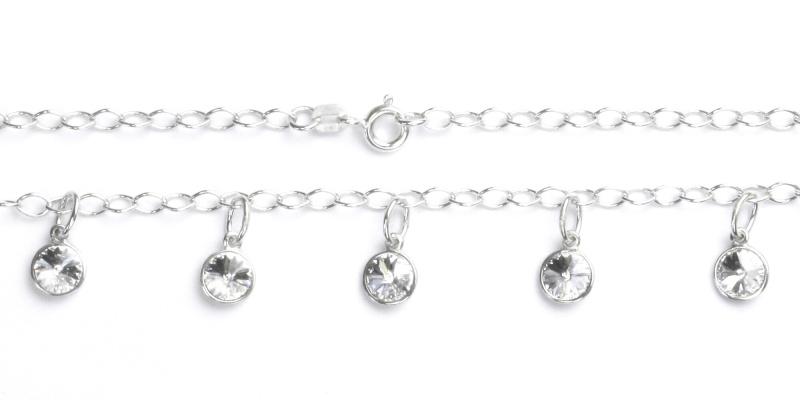 Stříbrný náhrdelník, náhrdelník s čirými Swarovski krystaly, NH 1336