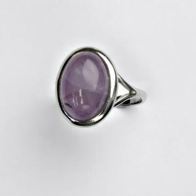 Stříbrný prsten, přírodní ametyst, prstýnek ze stříbra, T 1454