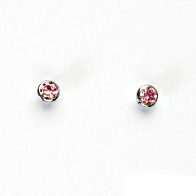 Stříbrné náušnice, růžové zirkony, náušnice na šroubek, stříbro, VE 64