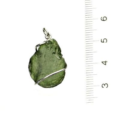 Přírodní vltavín, stříbrný přívěsek, přívěšek, stříbro, 2,78 g