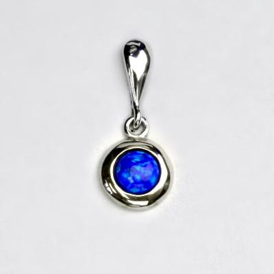 Stříbrný přívěsek, tmavě modrý syntetický opál, přívěsek s opálem, P 1470