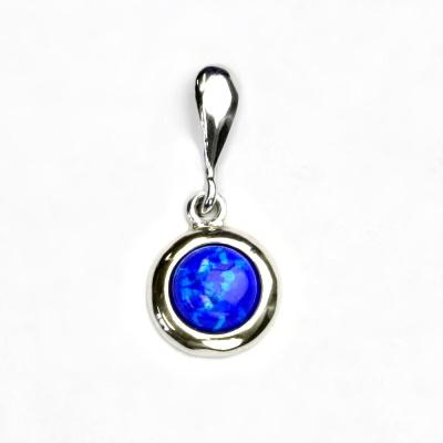 Stříbrný přívěsek, tmavě modrý syntetický opál, přívěsek s opálem, P 1471