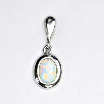 Stříbrný přívěsek, bílý syntetický opál, přívěsek s opálem, P 1354