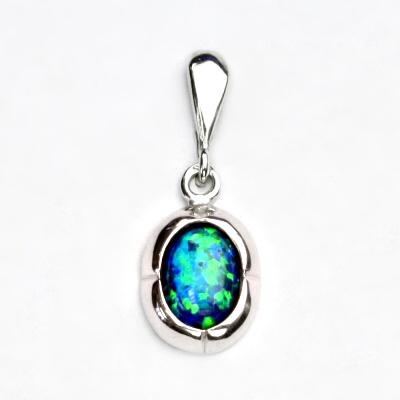 Stříbrný přívěsek, zelený syntetický opál, přívěsek s opálem, P 1374