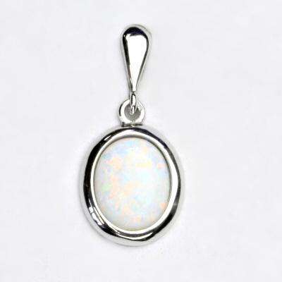 Stříbrný přívěsek, bílý syntetický opál, přívěsek s opálem, P 1453