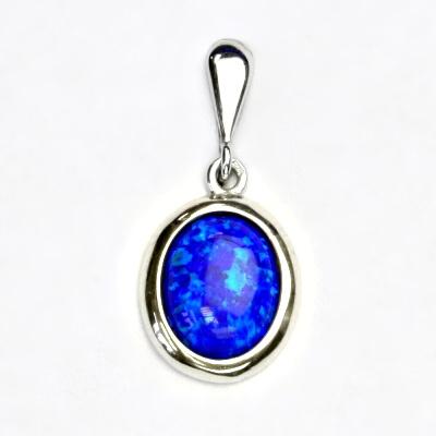 Stříbrný přívěsek, tmavě modrý syntetický opál, přívěsek s opálem, P 1453