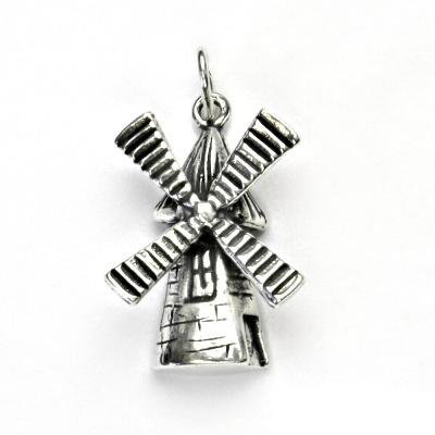 Stříbrný přívěsek s patinou, větrný mlýn, přívěšek ze stříbra, stříbro, P 360