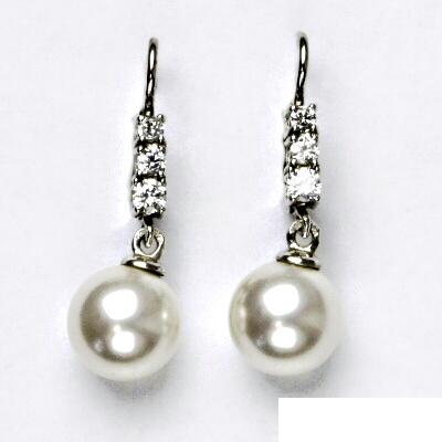 Stříbrné náušnice, čiré zirkony, perla, visací náušnice, VE 236