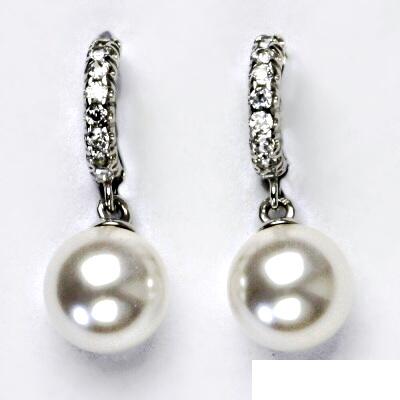 Stříbrné náušnice se Swarovski perlou, náušnice na klapku, VE 181