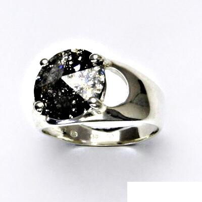 Stříbrný prsten s krystalem Swarovski (barva Black Patina) T 1188