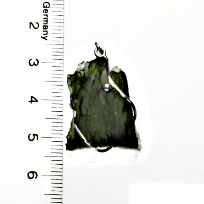 Přírodní vltavín, přívěsek ze stříbra, přívěsek s vltavínem, přívěšek, 4,52 g
