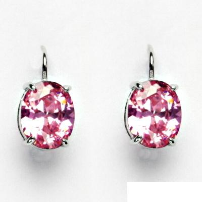Stříbrné náušnice, růžový zirkon, náušnice ze stříbra, NK 1242