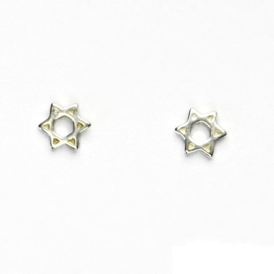 Stříbrné náušnice, Davidova hvězda, náušnice na šroubek, NŠ 900