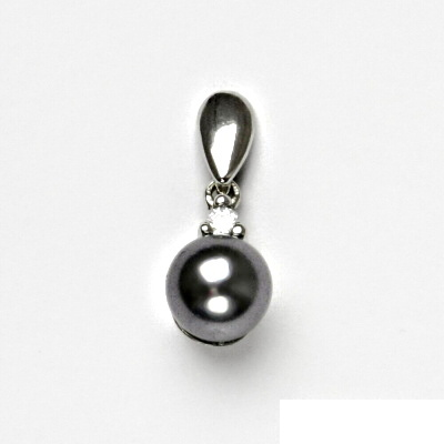 Stříbrný přívěsek, Swarovski perla černá, přívěšek ze stříbra, VP 11