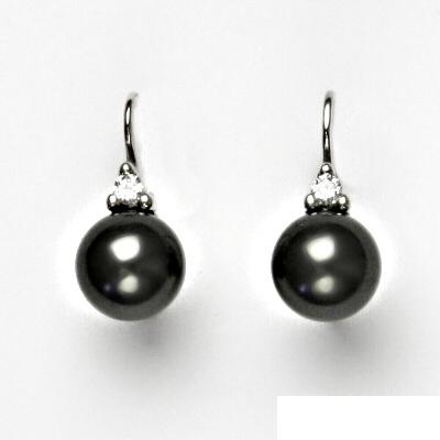 Stříbrné náušnice se Swarovski černou perlou, náušnice ze stříbra, VE 120
