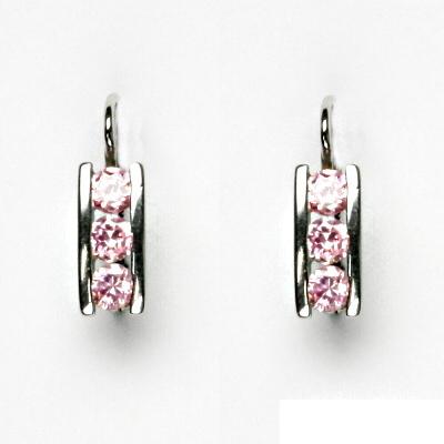 Stříbrné náušnice, růžové zirkony, náušnice ze stříbra, VE 12