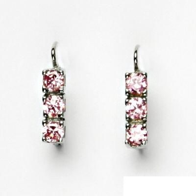 Stříbrné naušnice, růžové zirkony, náušnice ze stříbra VE 28