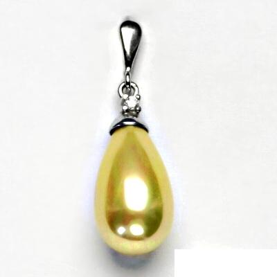 Stříbrný přívěšek, zlatá perla se skutečným perleťovým leskem, P 1482/22