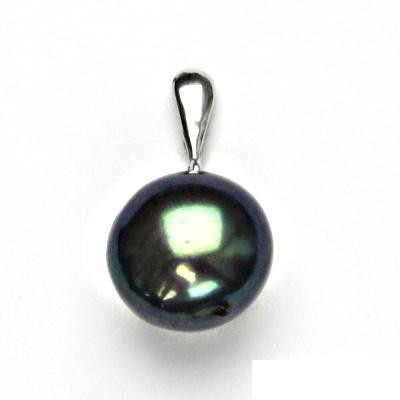 Stříbrný přívěsek, přírodní perla černá, přívěšek ze stříbra, P 1299/22