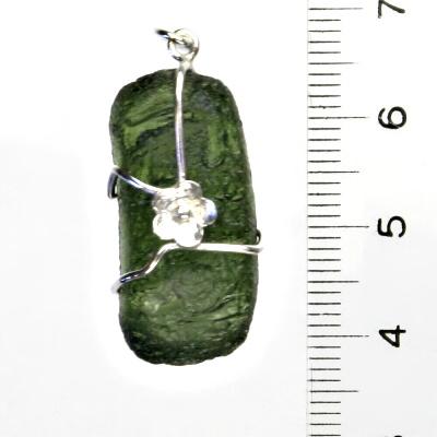 Přírodní vltavín, stříbrný přívěsek s přírodním vltavínem, 5,46 g
