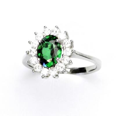 Stříbrný prsten, zirkon emerald, čiré zirkony, Kate, T 1507