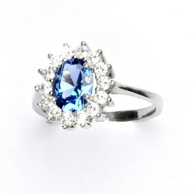 Stříbrný prsten, zirkon akvamarin, čiré zirkony, Kate, T 1507