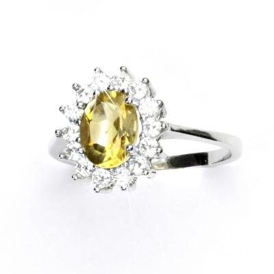 Stříbrný prsten, žlutý zirkon, čiré zirkony, Kate, T 1507