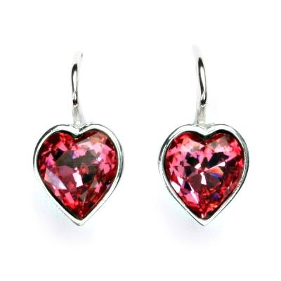 Stříbrné náušnice se Swarovski krystalem rose, srdce, srdíčko, NK 1396
