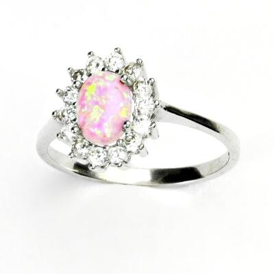 Stříbrný prsten, růžový syntetický opál, čiré zirkony, Kate, T 1507