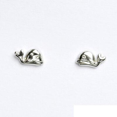 Náušnice na šroubek, velryba, náušnice ze stříbra, NŠ 922