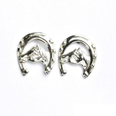 Náušnice na šroubek, kůň v podkově, náušnice ze stříbra, NŠ 9