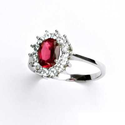 Stříbrný prsten, zirkon rubín, čiré zirkony, Kate, T 1507
