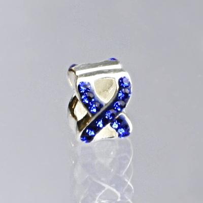 Stříbrný korálek s modrými zirkony na náramek,stříbro, AKCE