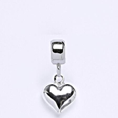 z Stříbrný korálek přívěšek srdce na náramek,stříbro P 822/7