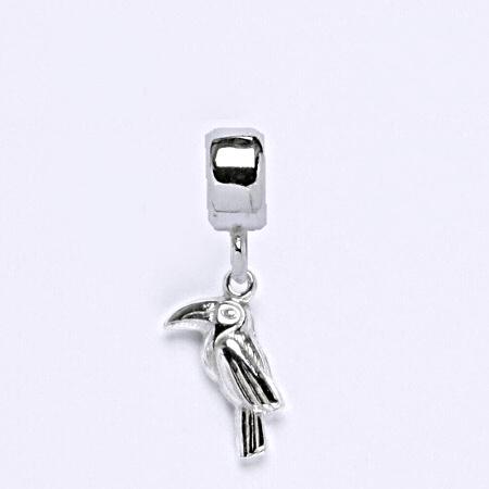 z Stříbrný korálek přívěšek papoušek na náramek,stříbro P 778/7