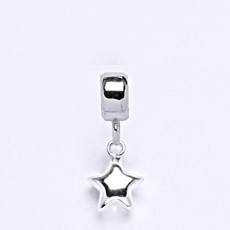 z Stříbrný korálek přívěšek hvězda na náramek,stříbro P 828/7