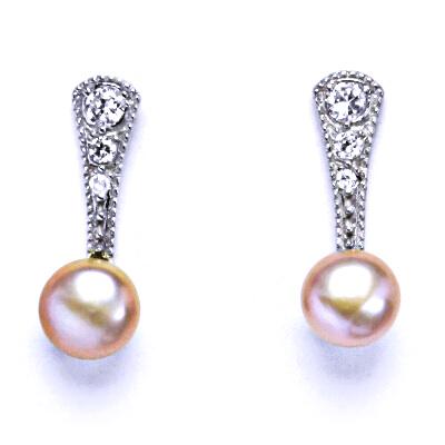 Náušnice stříbrné s přírodní růžovou perlou NŠ 1241 pp