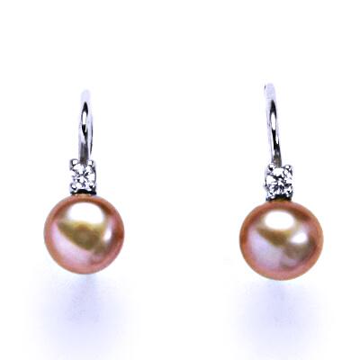 Náušnice stříbrné s přírodní růžovou perlou a čirým zirkonem, NK 1243 pp 6 mm