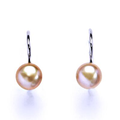 Náušnice stříbrné s přírodní růžovou perlou 6 mm, NK 1183 pp
