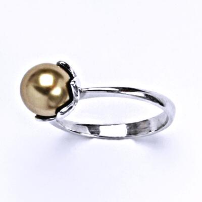 Stříbrný prsten se Swarovski bronze perlou 8 mm, T 1351