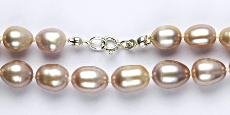 Přírodní říční perly růžové, růžová perla přírodní, náhrdelník z perel, perlový náhrdelník