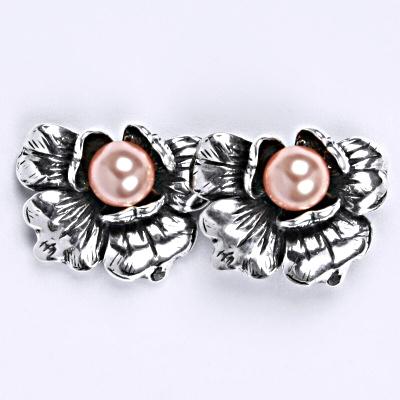 Stříbrné náušnice s umělou růžovou perlou 6 mm, NŠ 1010