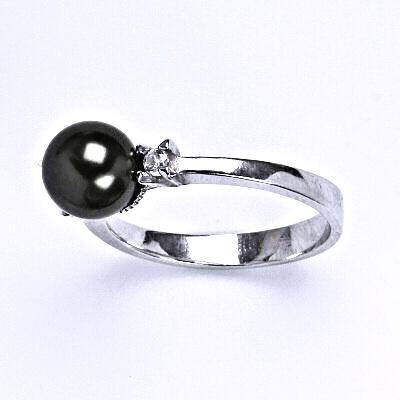 Stříbrný prsten se Swarovski black perlou 8 mm, T 1207