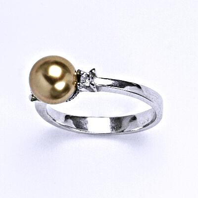 Stříbrný prsten se Swarovski bronze perlou 8 mm, T 1207