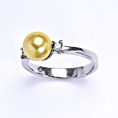 Stříbrný prsten se Swarovski gold perlou 8 mm, T 1207