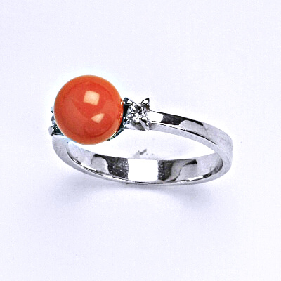 Stříbrný prsten se Swarovski coral perlou 8 mm, T 1207