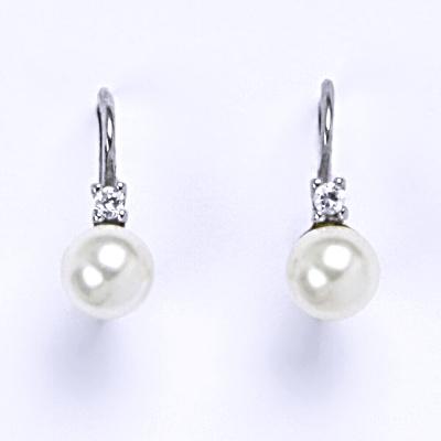 Stříbrné náušnice se Swarovski bílou perlou 6 mm, NK 1243